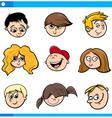 cartoon children faces set vector image vector image