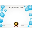 Certificate with balloons template vector image