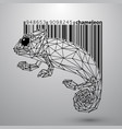 chameleon from triangles and barcode vector image