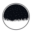 circular frame of black color of night landscape vector image