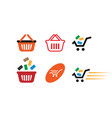 collection of shopping cart template vector image