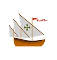 Columbus ship icon flat style vector image