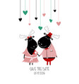couple cute moose in love vector image
