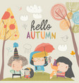 cute children meeting autumn with little animals vector image vector image