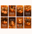 diwali festival light banners with diya lamps vector image