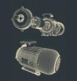 eectric motor blueprint vector image vector image