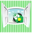 funny green bird looking into open window vector image