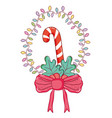 garland with candy cane and ribbon bow vector image vector image