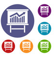 growing chart presentation icons set vector image vector image