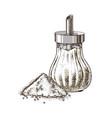 hand drawn sugar bowl and heap sugar vector image vector image