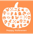 happy halloween pumpkin card and icon vector image vector image