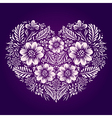 Heart with ethnic flower ornament vector image