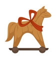 horse with ribbon on neck and wheels house decor vector image vector image