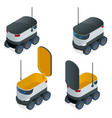 isometric robots deliver takeout orders it can vector image vector image