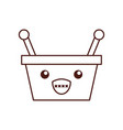 kawaii basket shopping supermarket handle cartoon vector image vector image
