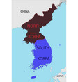 map south and north korea vector image vector image
