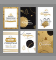 merry christmas greeting cards with gold luxury vector image vector image
