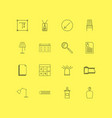 office linear icon set simple outline icons vector image vector image