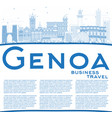 outline genoa italy city skyline with blue vector image vector image