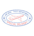 oval postmark with plane blue and red stamp for vector image vector image