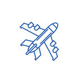 passenger plane line icon concept passenger plane vector image vector image