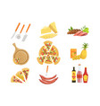 pizza ingredients and cooking utensils collection vector image