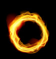 realistic abstract fire ring on black background vector image