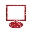 Red grunge monitor logo vector image