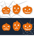 scary pumpkin icon set halloween greeting vector image vector image