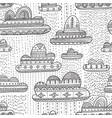 seamless pattern with rainy clouds in boho style vector image