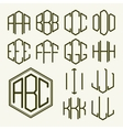Set 1 template letters to create a monogram vector image vector image