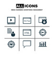 set of 9 marketing icons includes conference vector image vector image