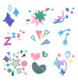 set of birthday party decorative design elements vector image