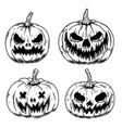 set scary halloween pumpkin design element vector image vector image