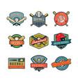 set vintage baseball logos vector image