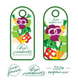 tags design label design fresh food vegetable vector image