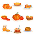tasty pumpkin dishes set pie soup jam jar vector image vector image