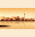 tehran city skyline silhouette background vector image