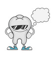 tooth cartoon with sunglasses and speech bubble vector image vector image