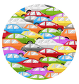 Traffic Jam With Cars Circle Icon Isolated on vector image