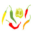 various peppers in flat style isolated on white vector image