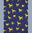 vertical card pattern with yellow gold dogs on vector image vector image
