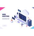 web hosting concept cloud computing online vector image vector image