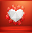 white heart on a red wall with flying balloons vector image vector image