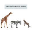 wild animals retro cartoon collection vector image