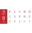 15 juice icons vector image vector image