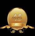 45th golden anniversary birthday seal icon vector image
