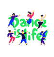 a group dancing people around inscription vector image vector image