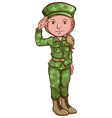 A sketch of a female soldier vector image vector image