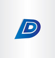 blue letter d icon design vector image